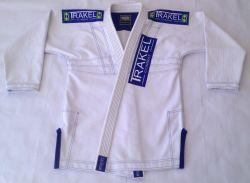 Kimono White + com costura azul royal