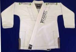 Kimono branco Colorline - Costuras intercaladas em preto e cinza (personalizado).